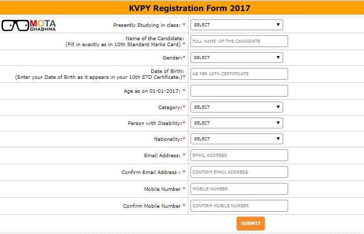 KVPY Applicatuon Form Filling Process