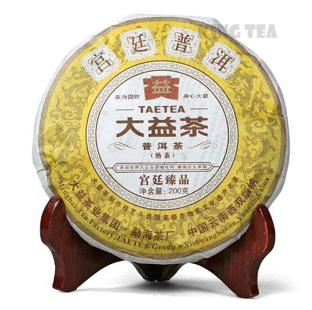 Free Shipping 2011 TAE TEA DaYi GongTing Palace Cake 200g China YunNan MengHai Chinese Puer Puerh Ripe Tea Cooked Shou Cha Premium