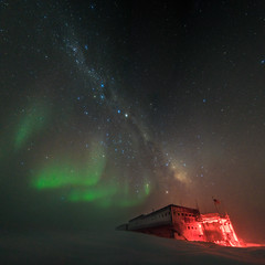 South Pole Station, Aurora, and the Milky Way