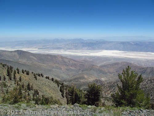 Views down on the salt flats from Telescope Peak in Death Valley National Park, California