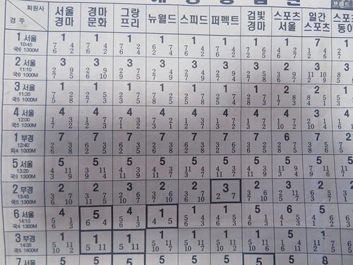 釜山慶南競馬場の競馬新聞のおまけの紙