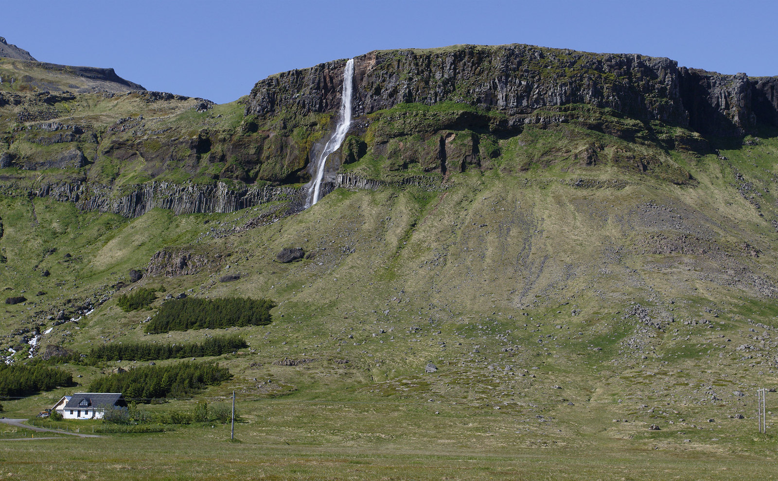 Volcanic cliffs and waterfalls everywhere