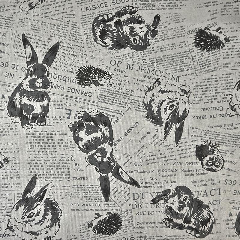可爱动物派对 英文报纸 猫头鹰 兔子 刺猬 手工艺diy拼布布料 cf55