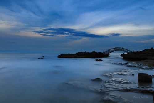夕陽 拱橋 石門情人橋 石門洞 石門 新北市 台灣 taiwan sunset bridge bluehour