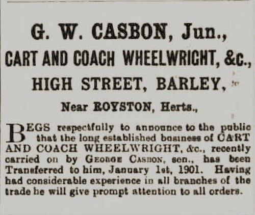 Casbon G W Wheelright ad Herts Cambs Reporter 8Feb1901