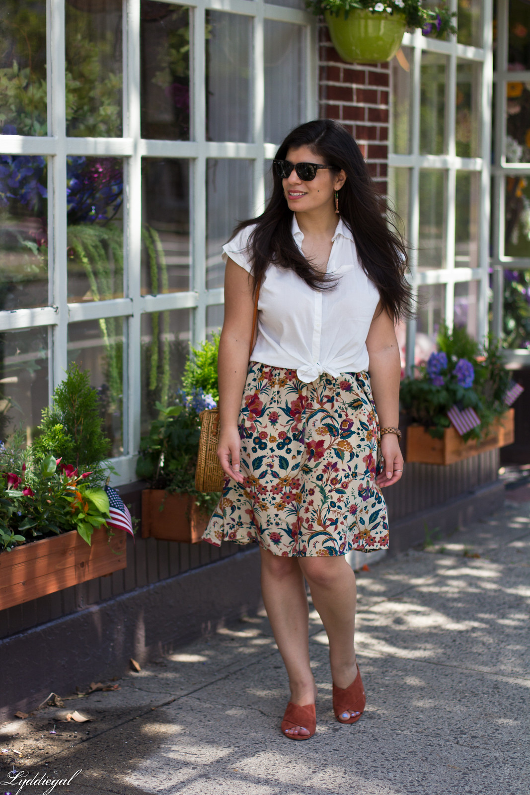 white button down, silk floral skirt, round bag, mules, JORD watch-3.jpg