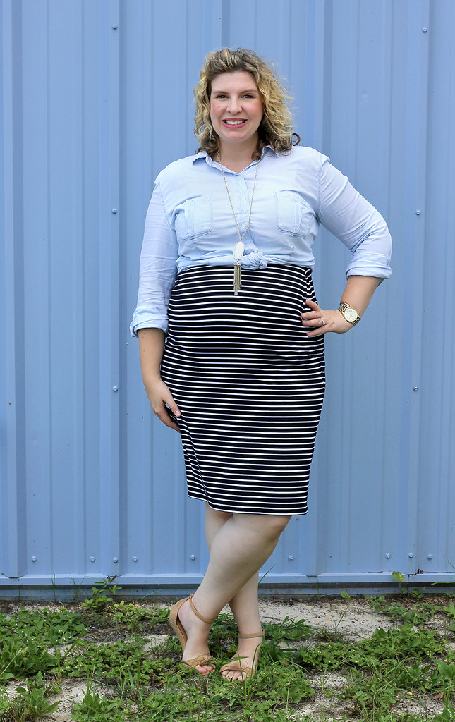 black and white pencil skirt, chambray top, nudge wedge sandals 2