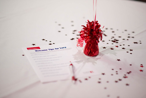 "A decorated table at the Sizzlin' Success Celebration with a ""Tips for Lucy"" questionnaire at the ready"