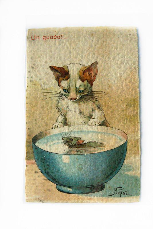 Открытка с кошкой и мышью
