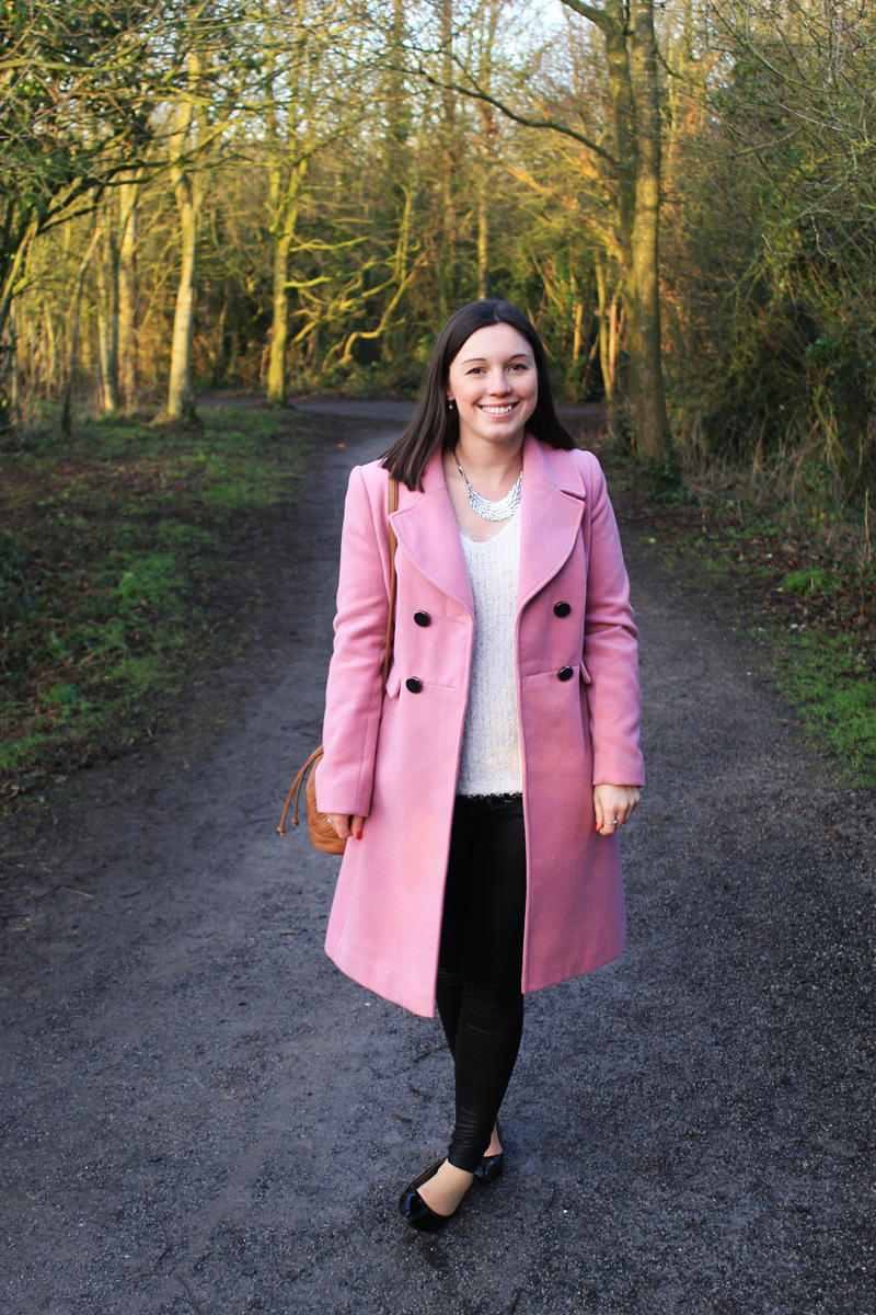 Styling a pink coloured winter coat fashion lifestyle blogger UK