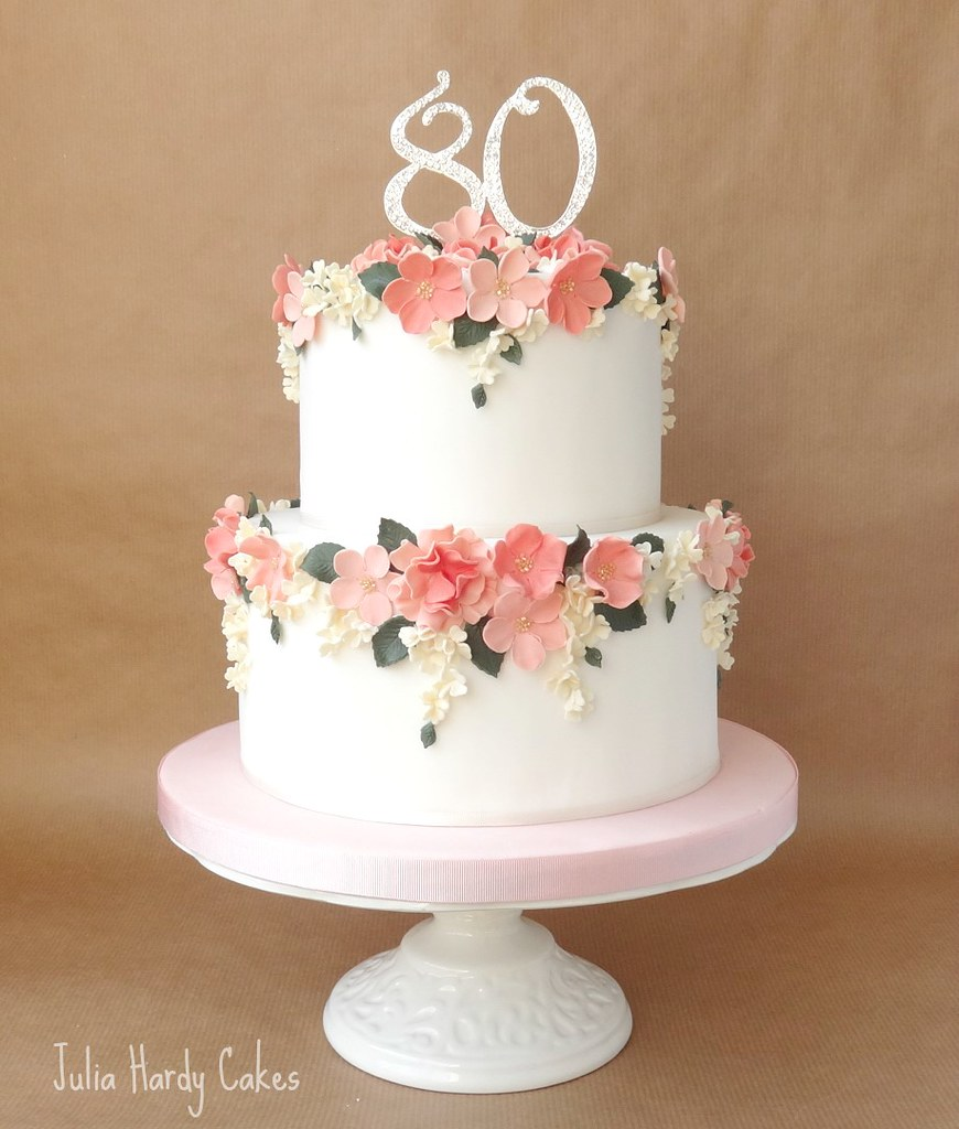 Vintage Rose 80th Birthday Cake