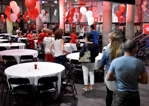 Staff members arrive at the Sizzlin' Success Celebration
