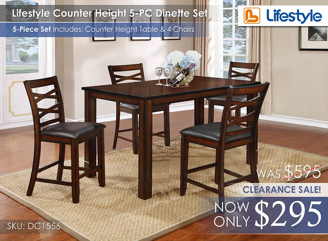 Lifestyle Counter Height Dinette 5PC Set CLEARANCE