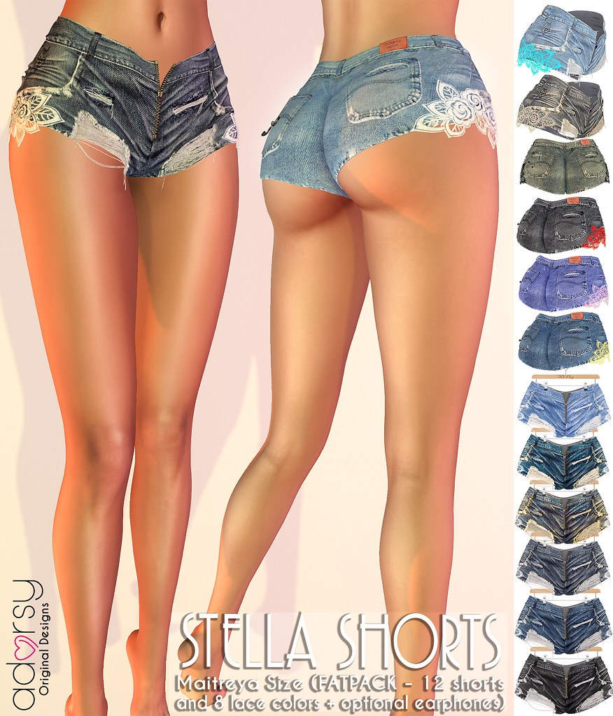 Stella Denim Shorts - adorsy - SecondLifeHub.com