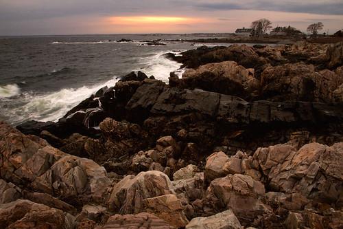 sunset ocean coast view kennebunkport parsonsway shore path walk rock boulders geology waves evening sky windy
