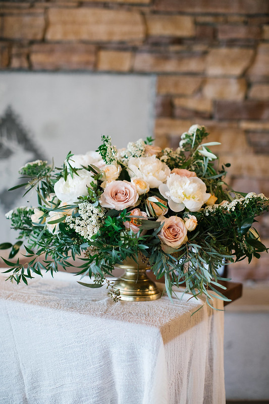 Gold bowl with olive leaves, Quicksand roses and white peonies, The LakeHouse Calgary wedding