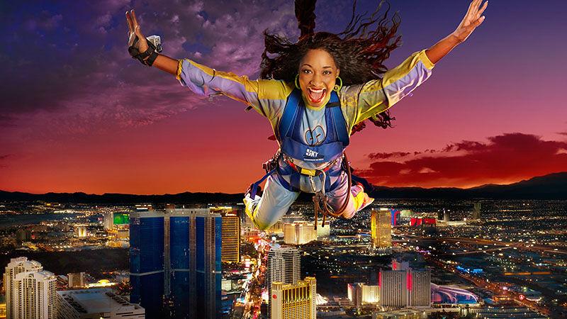 """""""Sky Jump"""" di Stratosphere di Las Vegas, Nevada, Amerika Serikat."""