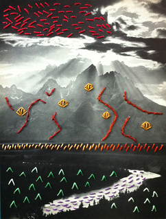 Crossing The Snake River (2013): embroidery on paper, by Robert Crystal-Ornelas
