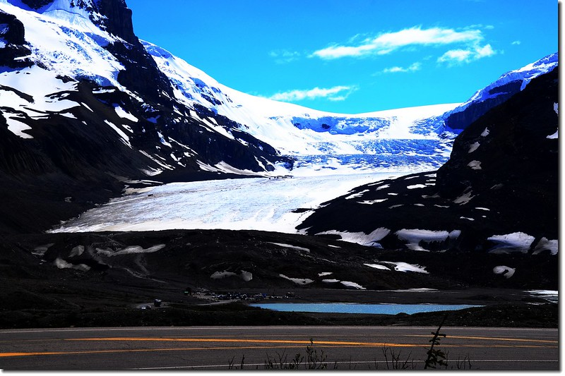 Looking towards Athabasca Glacier from parking lot
