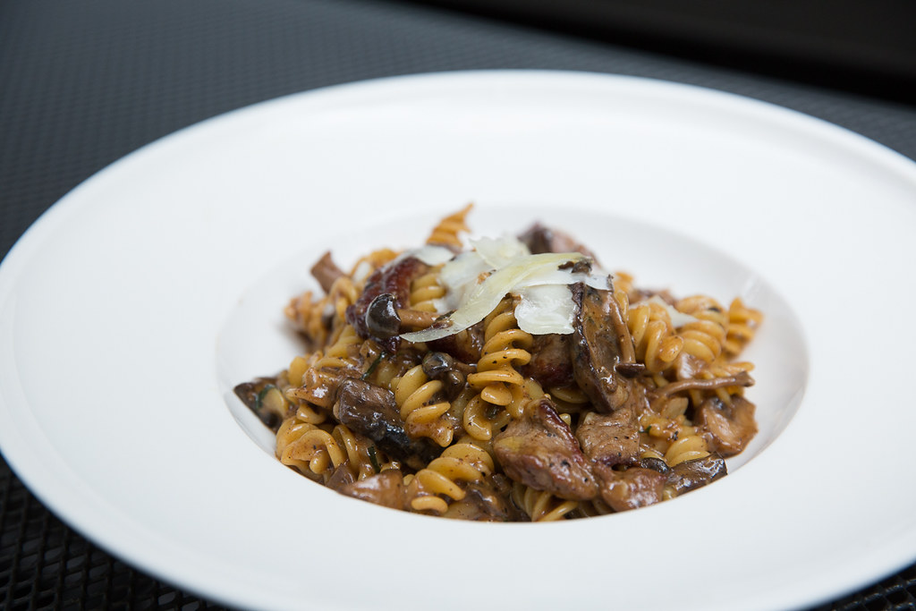 Prime Beef Fusili with sliced striploin, wild mushrooms, truffle and shaved pecorino