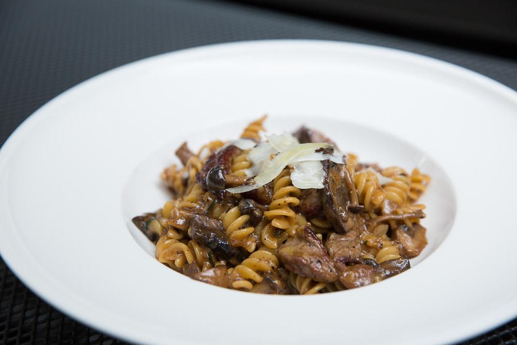 Prime Beef Fusili with sliced striploin, wild mushrooms, truffle and shaved pecorino