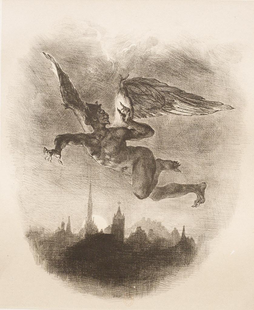 Eugene Delacroix - Mephistopheles Over Wittenberg,1839