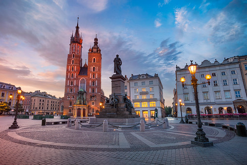 krakow poland marketsquare cathedral architecture skyline downtown building exterior city tourism landmark town chapel church twilight dawn sunrise europe historical famous square landscape tower medieval old outdoors sky travel destination