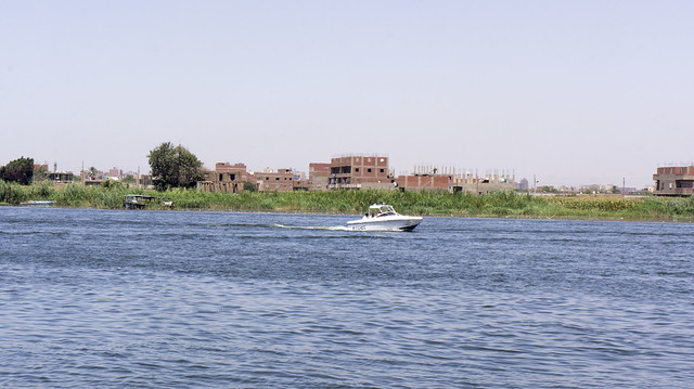 Egyptian police speed boat outside the island