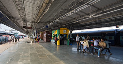 People at train station in New Delhi, India