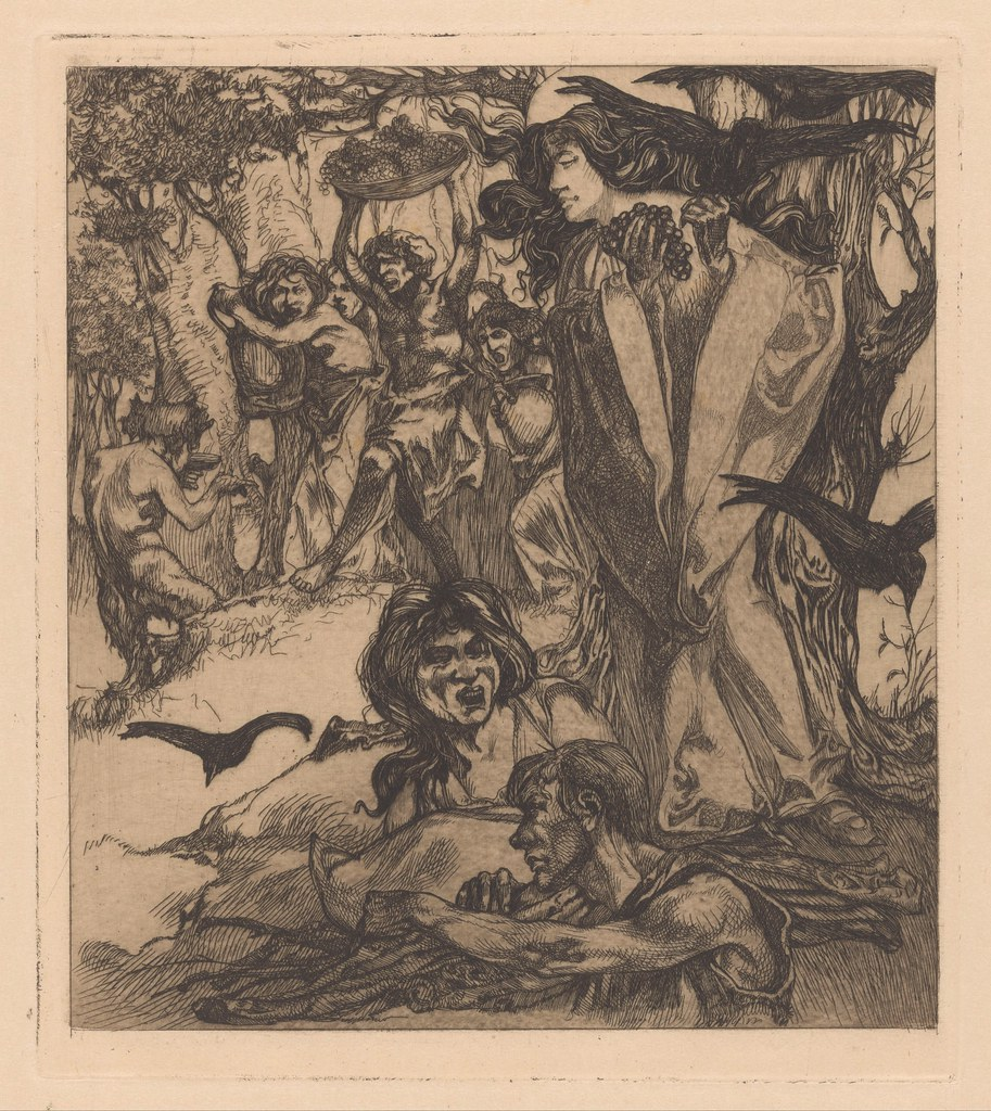 Johannes Josephus Aarts - Forest landscape  with people, crows and satyr