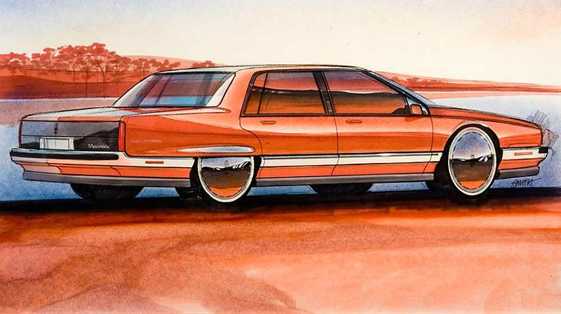 A drawing likely intended to the future 1985-1990 Oldsmobile Ninety-Eight