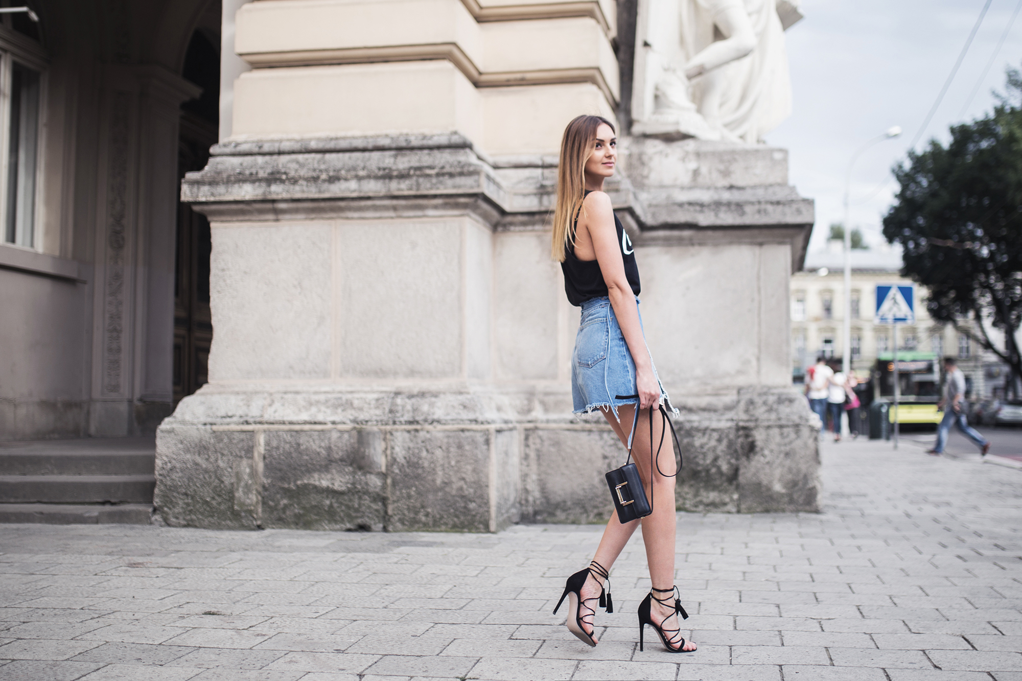 denim-skirt-wrap-heels-outfit-street-style