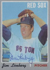 1970 Topps - Jim Lonborg #665 (High Number) (Pitcher) - Autographed Baseball Card (Boston Red Sox)