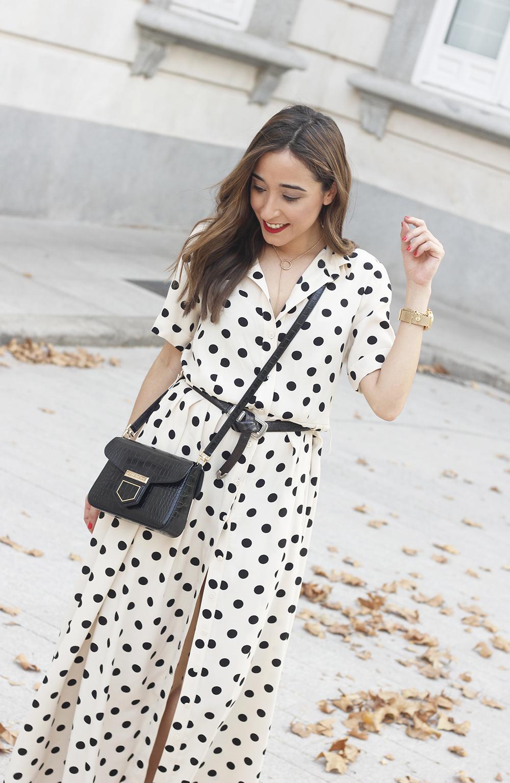 Maxi dress polka dots uterqüe converse givenchy bag summer outfit summer09