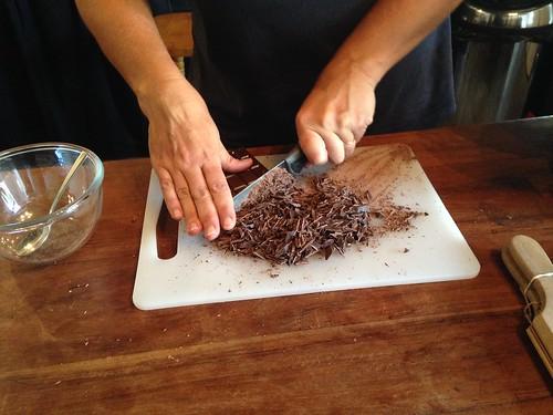 Making mint choc chip ice cream