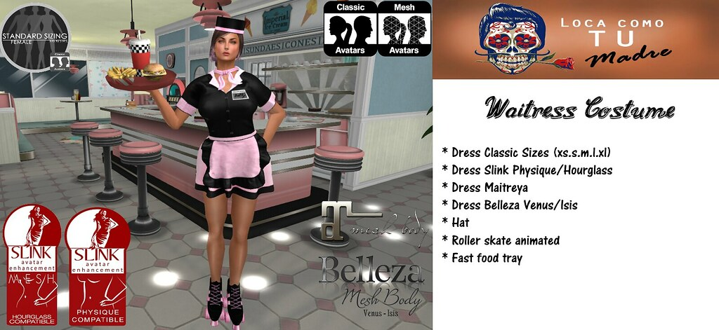 Waitress pink - SecondLifeHub.com