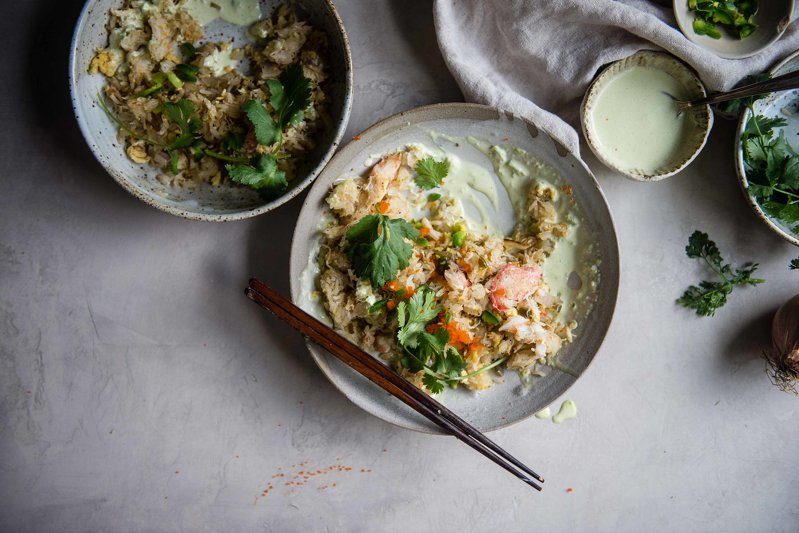 crab fried sticky rice | two red bowls