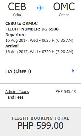 Cebu to Ormoc August 16, 2017 Promo