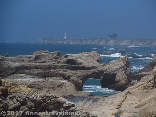 Sea arches and the Point Arena Lighthouse from Point Arena-Stornetta National Monument, California