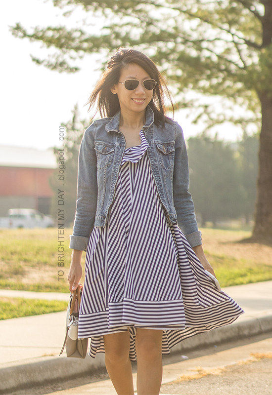 denim jacket, blue striped cotton dress, colorblock tote