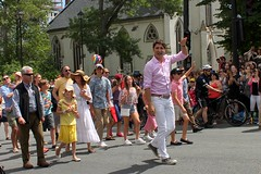 Canadian Prime Minister Justin Trudeau marching in the Halifax Pride parade