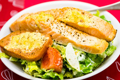 Baked salmon and spam with salad
