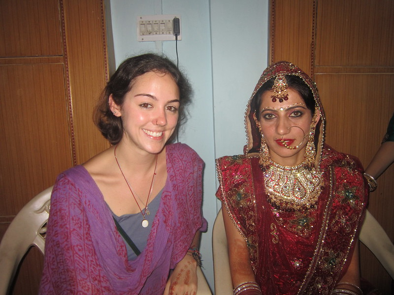 Flora with the bride at a village wedding in India