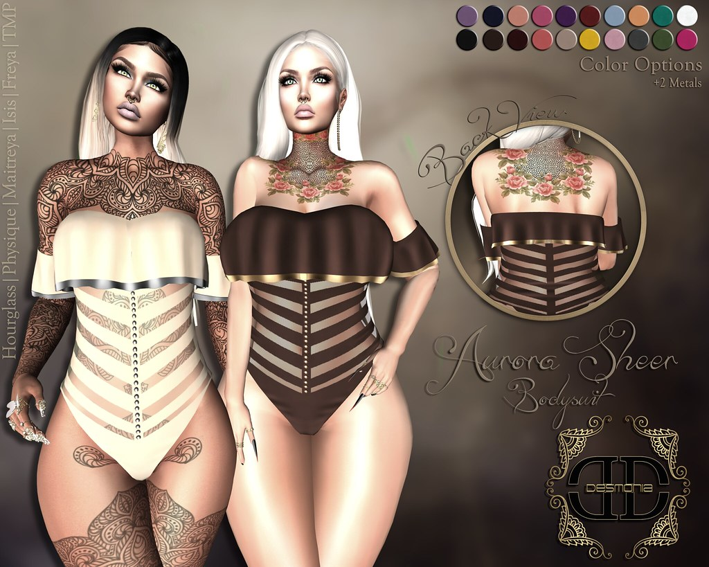 Aurora Sheer Bodysuit Fatpack - SecondLifeHub.com