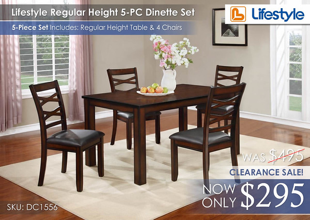 Lifestyle Reg Height Dinette 5PC Set CLEARANCE