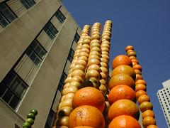 Piles of citrus fruit arranged as art in the channel gardens at Rockefeller Center.