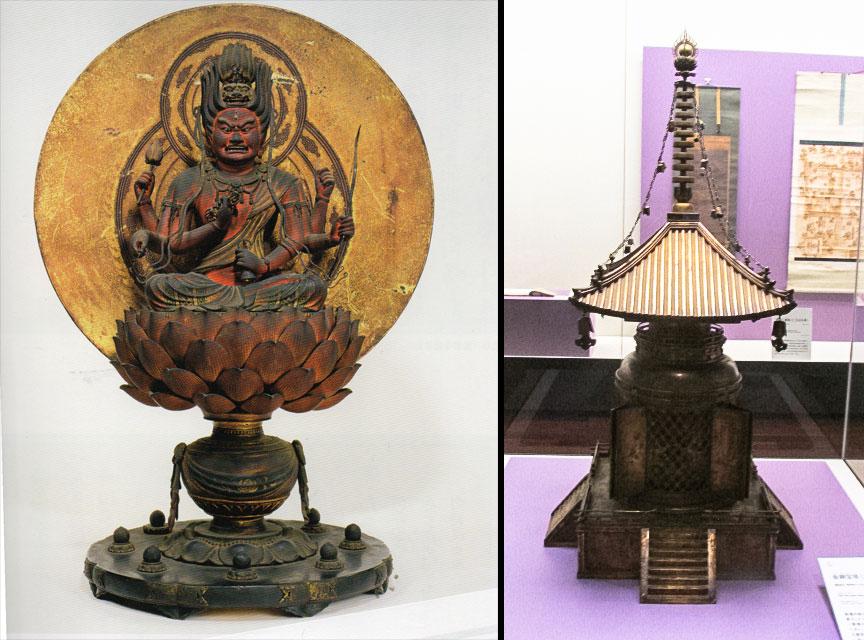 左)重要文化財《愛染明王坐像》 右)国宝《金銅宝塔(壇塔)》(鎌倉時代、西大寺)