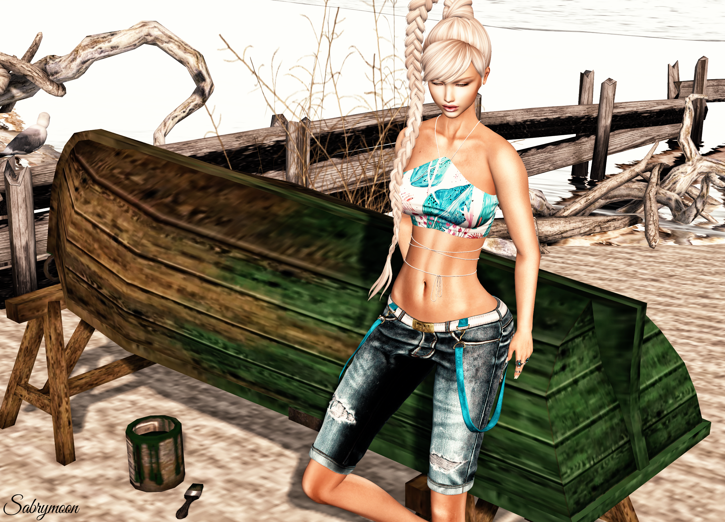Sabrymoon wearing FashionNatic Sahana Shorts Jeans Aleutia Sorchie Top Prints @ On9 LW: Poses Summer loving Boat @ Tres Chic