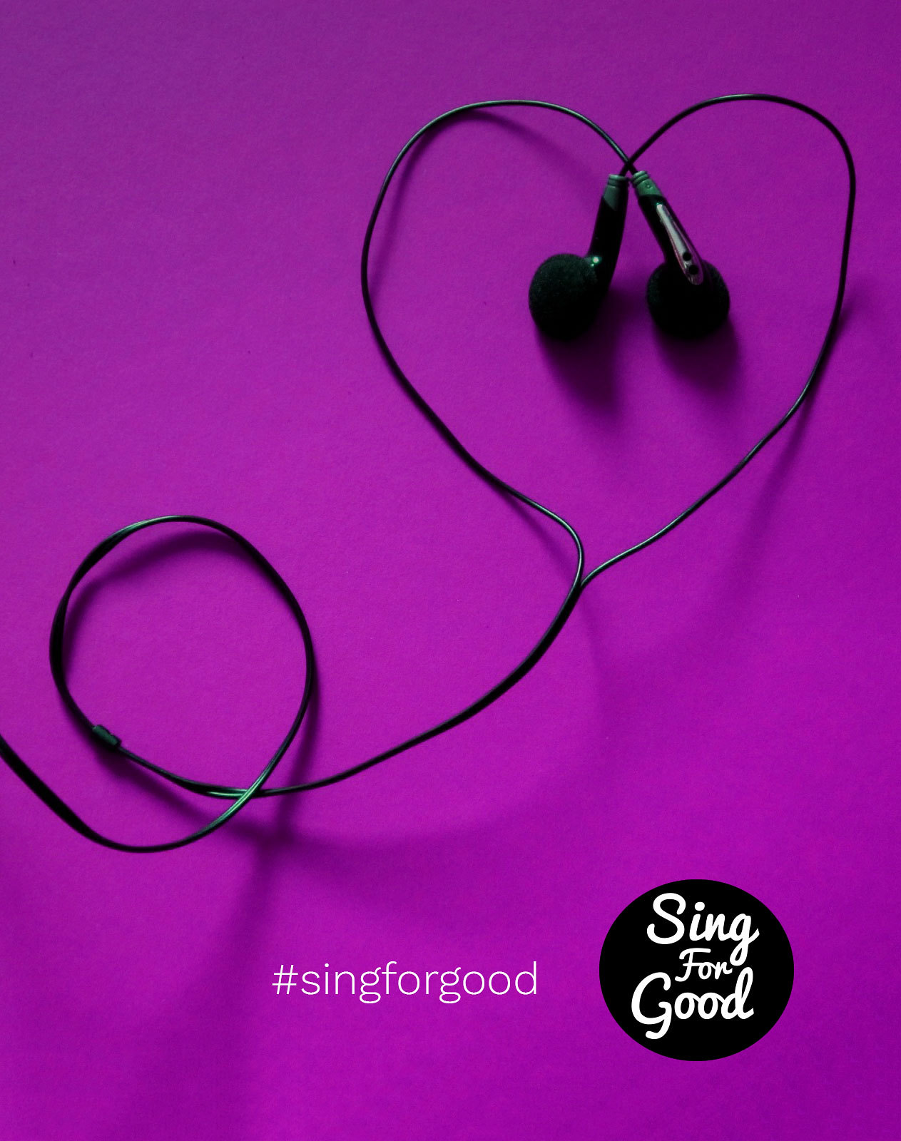 Sing for Good banner with headphones in a love heart shape