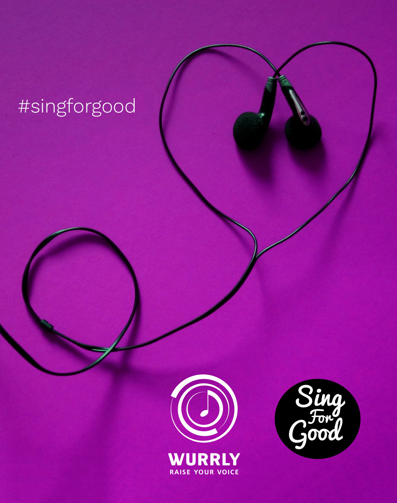 Wurrly and Sing for Good banner with headphones in a love heart shape